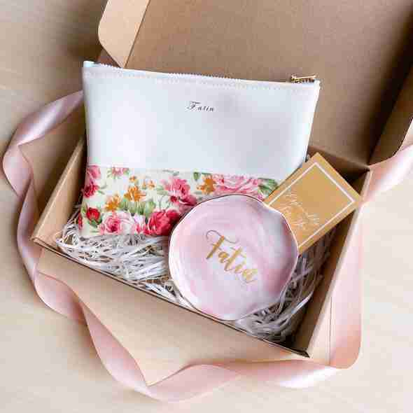 """7"""" personalised pouch and marble jewellery tray"""