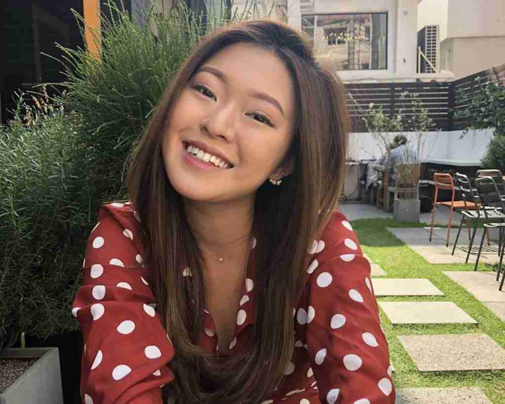 Girl smiling in polka dot dress