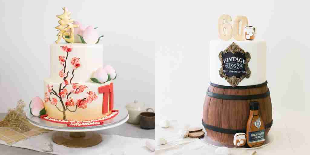 customized cherry blossom sunset gradient longevity cake (left) and vintage beer barrel 60th birthday cake (right)