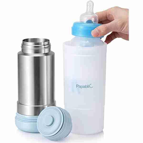 Warming baby bottle with Papablic bottle warmer