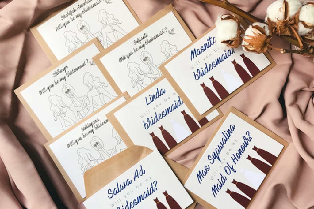 Bridesmaid cards with illustration